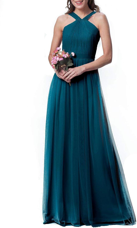 Bridesmaid Dress Halter Evening Party Dress Long Bridesmaid Gowns Prom Belt
