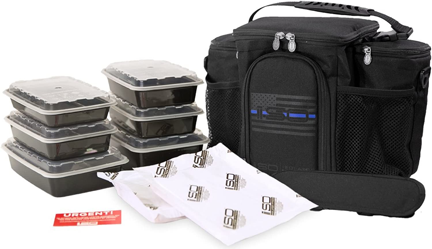 Thin bluee Line 3 Meal Prep Bag Kit - Insulated Lunch Bag Cooler with 6 Reusable Meal Prep Containers, 2 Ice Packs & Shoulder Strap - MADE IN USA