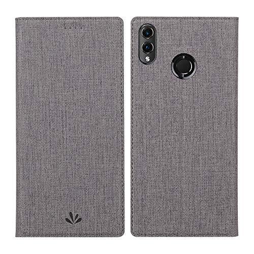 Eactcoo Kompatibel Huawei Honor 8X Hülle Dünn Premium PU Leder klappbares Folio Flip Hülle Book TPU Cover Bumper Tasche Standfunktion Magnetverschluss Kartenfach Wallet Handyhülle (Grau)