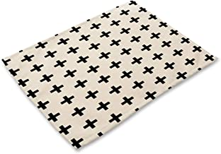 1 Pcs Simple Wipe Clean Placemats Placemat For Kitchen Dinner Table Place Mats Dining Placemats Waterproof, Cross Stripes Geometric Black White