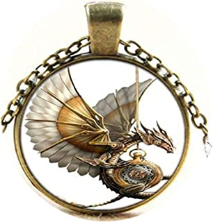 Vintage Steampunk Dragon Photo Cabochon Glass Bronze Pendant Necklace