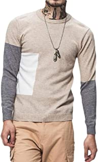 Men's Ribbed Knitting Sweater Long Sleeve Color Block Pullover