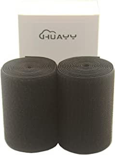 HUAYY 4 Inches Width 2 Yards Length,Sew on Hook and Loop Style,Non-Adhesive Nylon Strips Fabric,Black (4in x 2yd)