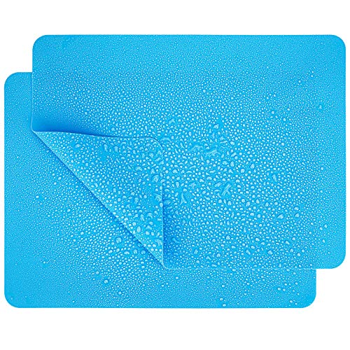 12  x 9  Silicone Mats, Countertop Protector, Placemat, Nonskid ,Heat-Resistant,Washable, Blue, Set of 2