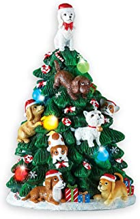 Collections Etc Dog Lighted Tabletop Christmas Tree Decoration