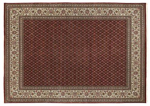 PARISA HERATI un tapis noué main d`orient classique laine rouge - créme Taille: 90x160 cm