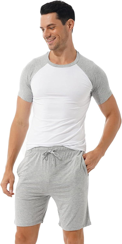 Loloda Mens Pajamas Set Sleepwear Short Sleeve Shirts and Bottoms Shorts Cotton Lounge Pjs Nightwear