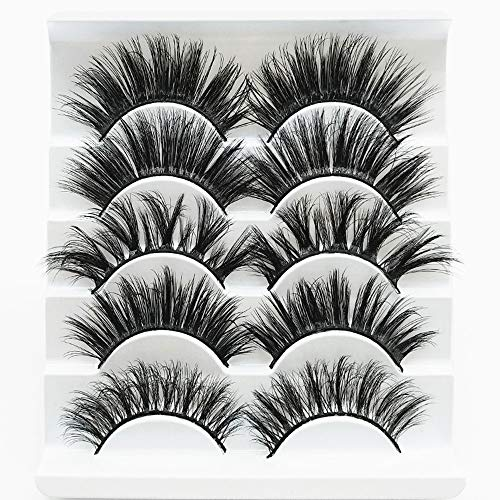 5 Pairs Faux 3D Mink Lashes Multipack,False Eyelashes Natural Soft False Eyelashes Pack for Makeup Eyelashes Extension