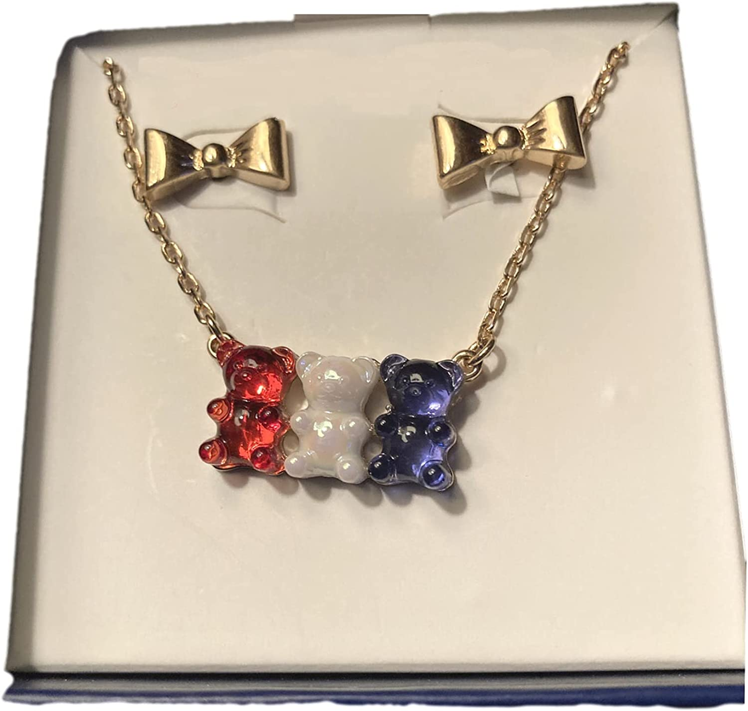 Betsey Johnson Patriotic Red, White and Blue Gummy Bear Necklace and Gold Bow Earrings