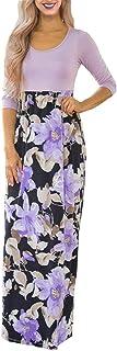 DUNEA Women`s Maxi Dress Floral Printed Autumn 3/4 Sleeve Casual Tunic Long Maxi Dress