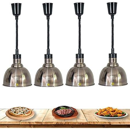 Lampe Chauffante Infrarouge Cuisine pour Aliments, Lustre Cuisine Télescopique Commercial Chauffe-Plats Lampe D'isolation Professionnelles, 250W-220V