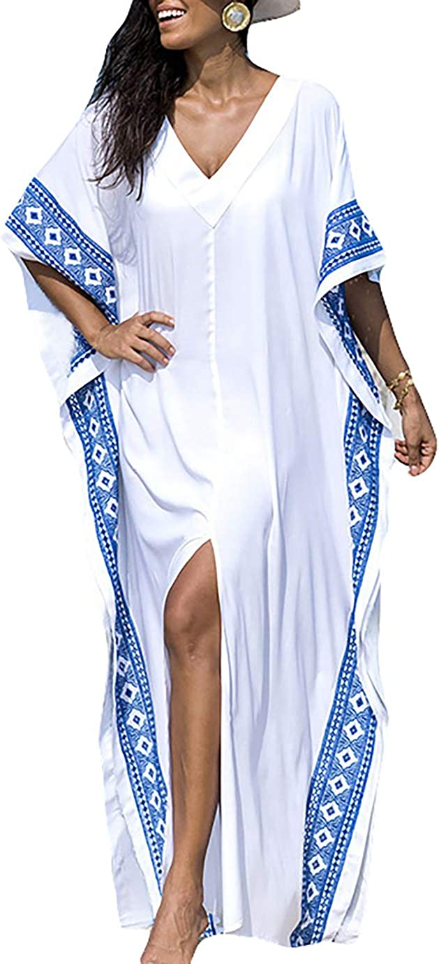 Eddoyee Loose Beach Kaftan Dresses for Women Caftan Swimsuit Cover Up