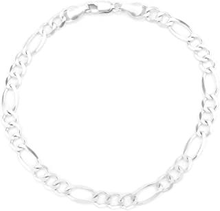 10K Gold 5.5mm Figaro 3+1 Link Chain Bracelet/Or Necklace -Made in Italy-Choose your Length & Color