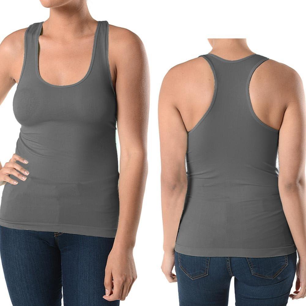 3 Pc Women Plus Size Basic Long Tank Top Sleeveless Racerback Scoop Stretch Grey