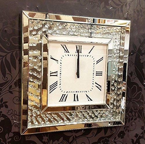 Premierinteriors Moderne Wanduhr mit schwebenden Kristallen, abgeschrägt, Spiegelglas, quadratisch, 50 cm, Silber 202