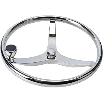 """Amarine Made Stainless Steel Boat Steering Wheel 3 Spoke 13-1/2"""" Dia, with 5/8"""" -18 Nut and Turning Knob for Seastar and Verado"""