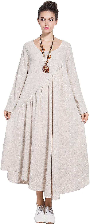 Anysize Linen Cotton 4-Season Dress Side Pockets Plus Size Clothing Y66