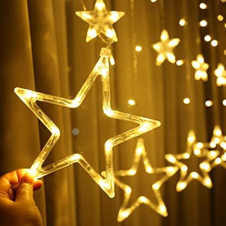 MANSAA Decorative Star Curtain LED Lights for Diwali Christmas Wedding - 2.5 Meter (1 Curtain) 138 LED, (6+6 Star)