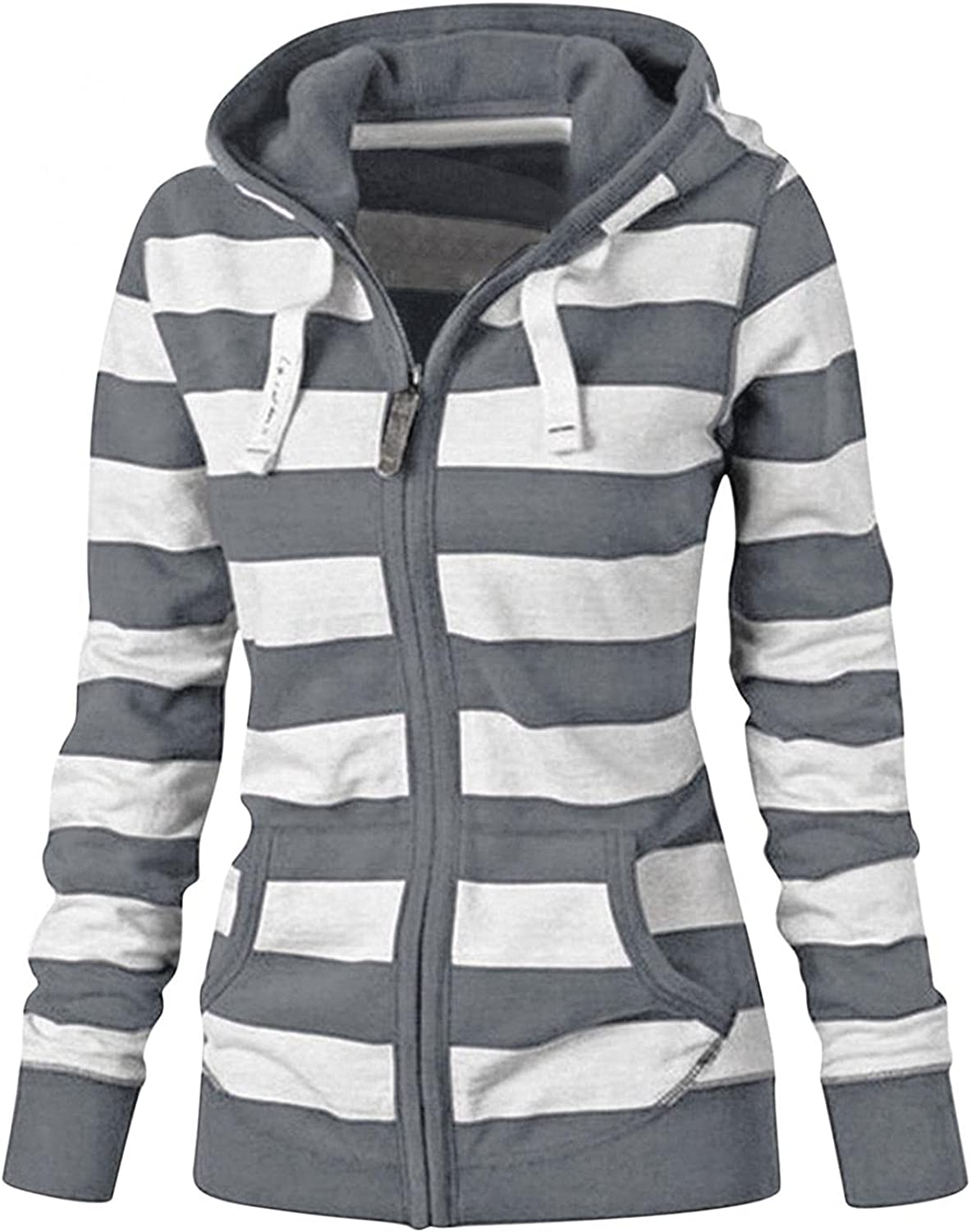 Sweaters for Women Hoodies, Womens Zip-Up Hoodie Long Sleeve Striped Lightweight Pullover Tops Casual Blouses with Pockets