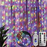 Lichtervorhang 3x3m, MMTX Lichterkette LED Innen, 300 LED Lichterkette Batterie mit Fernbedienung Steuerung 8 Modi Lichterkettenvorhang Wasserdicht Led Deko für Weihnachten Garten, Zimmer