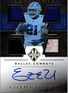 2019 Panini Majestic Capstones Autograph Relic Gold Ezekiel Elliott Used PATCH Jersey AUTO 14/15 Dallas Cowboys NFL Football Trading Card