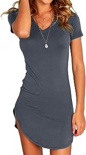 Karlywindow Women's Bodycon Dress Sexy Tight Irregular Hem Short Sleeve Mini T Shirt Dress