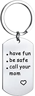 Stainless Steel Keychain Keyring Keyhook Have Fun Be Safe Call Your Mom Daughter Son Tag Jewlery Charms Gift