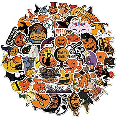 Gakece Halloween Stickers 50 pcs Witch Pumpkin Skeleton Stickers,Vinyl Waterproof Stickers for Kids Teens Adults Gift Halloween Decorations Party Supplies