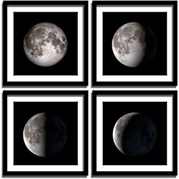 ENGLANT - 4 Pieces Framed Moon Phases Canvas Wall Art, Black and White Bedroom Wall Decor, Abstract Giclee Space Artwork with Matting and Acrylic Panel Sealing, for Home and Office Decoration