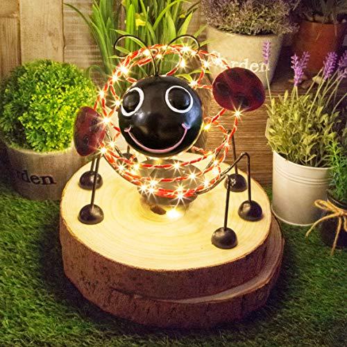 GardenKraft 14930 Mariquita de Alambre Solar con 62 Micro LED y 4D Efecto de Movimiento para decoración de jardín, Color Rojo y Negro