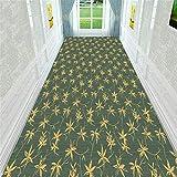 Bambus-Blätter Blumen Flur Teppich-Läufer weiche rutschsichere feuchtigkeitsfest Flur/Küche/Schlafzimmer/Treppe leicht zu reinigen Größe: 80x400cm Hall Rugs (Size : 80x400cm)