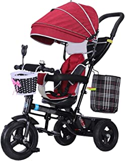 QDY-pushchair Quick Fold Baby Stroller Trike Bike Push and Ride Children's Trolley with Brakes and Shock Absorber Kids'Tri...