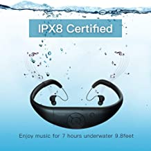 Tayogo 8GB Waterproof MP3 Player, Bluetooth Swimming Waterproof Headset Underwater 10FT with Shuffle Feature, Support FM APP Flash Drive - Black