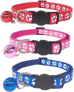 comprar comparacion Tafeiya 3 collares de gato con hebilla y campana, ajustable y lindo collar de gatito apto para todos los gatos domésticos ...