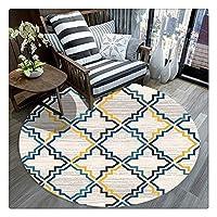 ホームベッドルーム装飾のためのノンスリップ裏地付きソフトで快適なフロアマットカーペットラウンドカーペット (Color : 6, Size : Round 47 Inches)