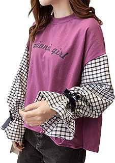 ZhongJue(ジュージェン) レディース 長袖tシャツ クルーネック トップス ゆったり カットソー 切り替え ボリュームスリーブ 韓国ファッション プルオーバー 可愛い