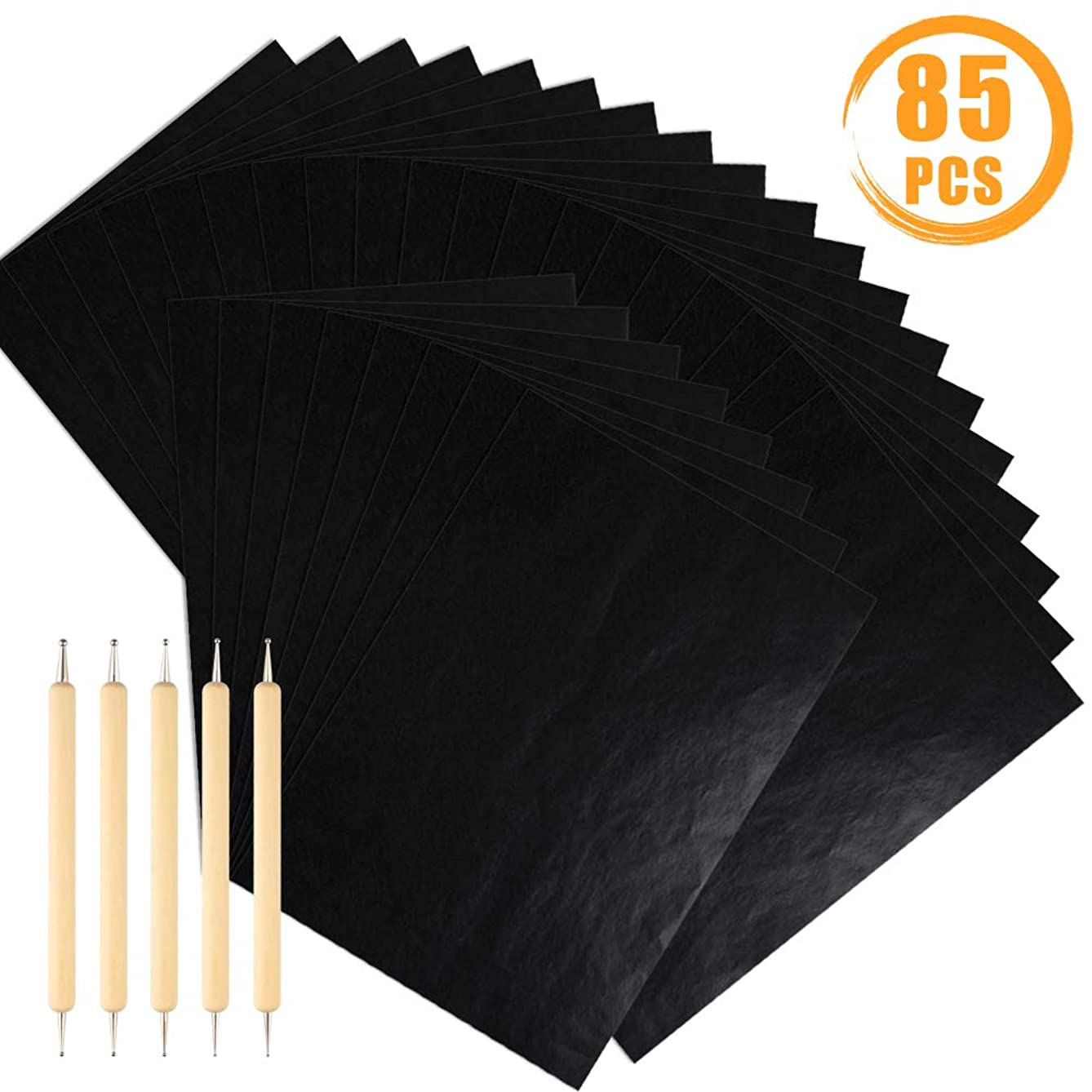 Quacoww 80 Sheets A4 Black Transfer Paper Carbon Paper for Wood, Paper, and Other Surfaces Tracing with 5pcs Trace Tools