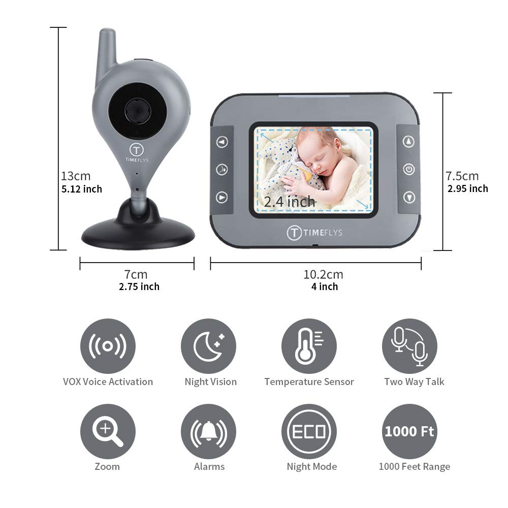 TimeFlys Video Baby Monitor with Camera and Audio -C240v 2.4