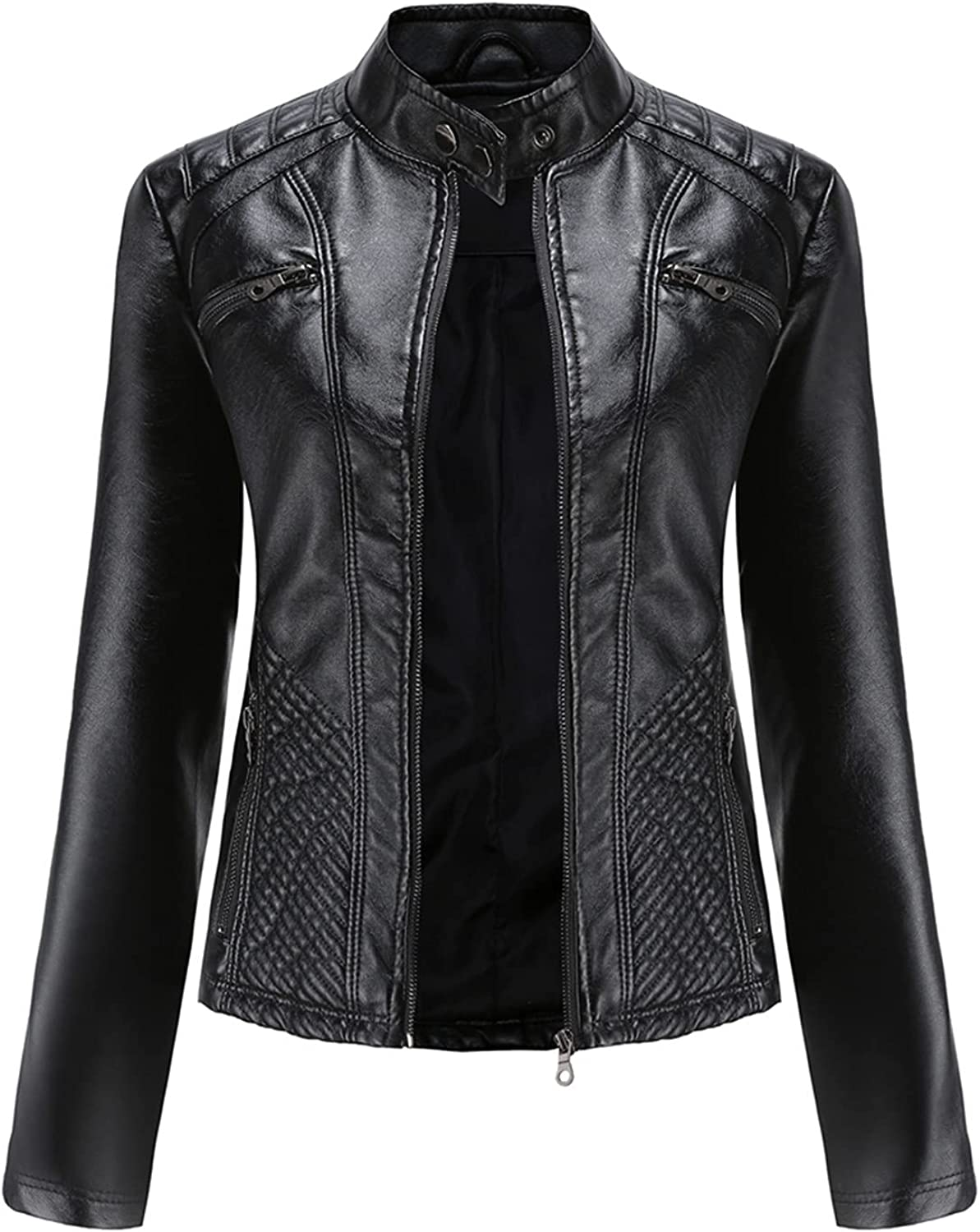 Women's New York Mall Free Shipping Cheap Bargain Gift Faux Leather Jacket Plus Size Zip Solid Up Color Regular
