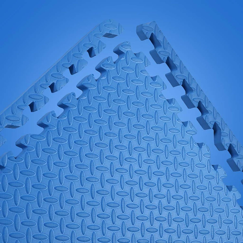 LFY Puzzle Foam Spielmatte Volltonfarbe für Kinder - 4 6 8 12 16 Fliesen (Farbe   Blau, gre   4 Piece)