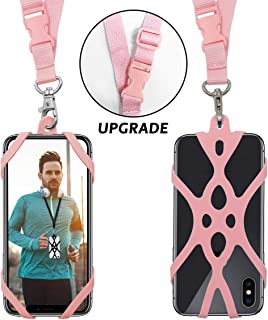 Cell Smartphone Phone Lanyard Strap, Universal Case Cover Holder Lanyard Necklace Wrist Strap With ID Card Slot For iPhone X 8 7 6S 6 Plus Galaxy S7 S6(Veiled Rose)