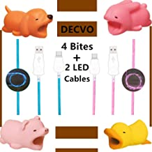 DECVO Cable Protector iPhone iPad Android Samsung Galaxy Cable Plastic Animals Phone Accessory Protects USB Charger Data Earphone Protection Cord Chewers Bite 4 & 2 Pack LED Cable (Blue Pink)