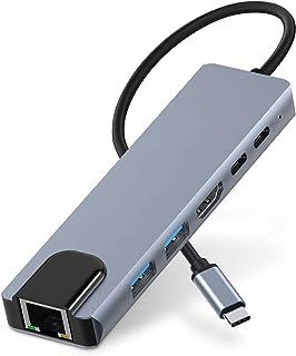 USB C Hub, 4K@60Hz USB C Dongle, 1000M Gigabit Ethernet Adapter, HARIBOL 6 in 1 USB C HDMI Dock with 87W PD, 2 USB3.0 Port...
