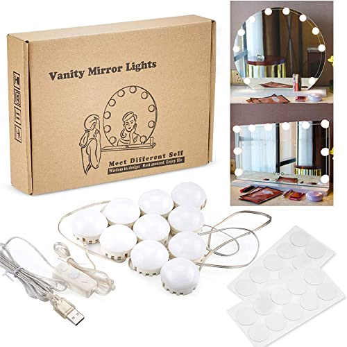 BECROWM Hollywood Style LED Vanity Mirror Lights Kit with 10 LED 5 Levels Brightness Light Bulbs White & Warm White L...