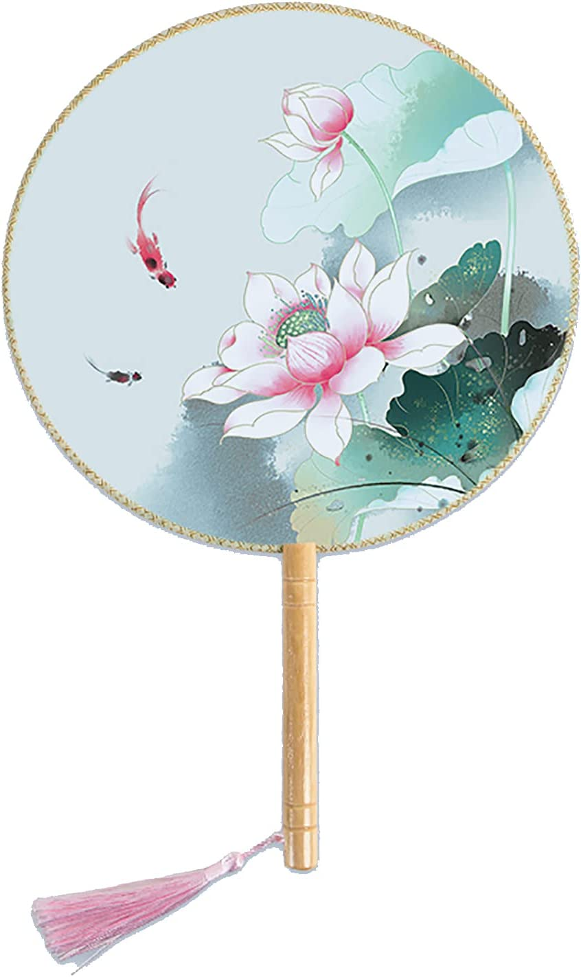 YUELAI Chinese Year-end annual account Round Fan Special price Ancient Translucent Silk Hand Han