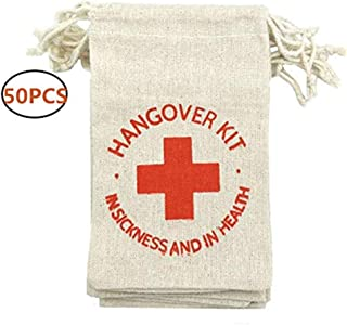 OZXCHIXU 50pcs 4 x 6 inch Hangover Kit Bags, Red Cross Bags Cotton Survival Kit Bag, Gifts Bags, Party, Wedding Decoration