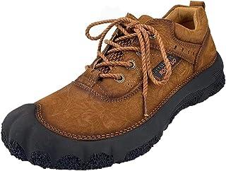 Cmaocv للرجال جلد المشي في الهواء الطلق شيك المشي العمل الرياضة الرياضة أحذية الرحلات، تسلق تسلق خفيفة الوزن