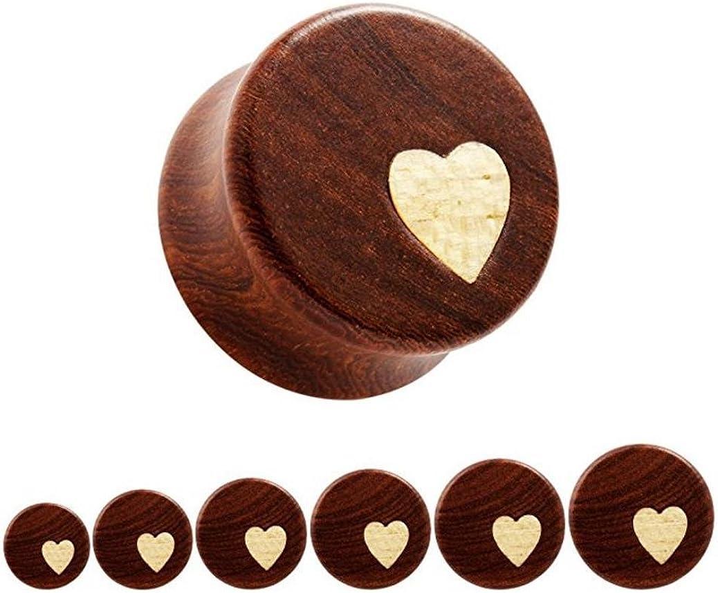 Bigbabybig Women Ear Plugs Tunnels Body Piercing Jewelry for Man Heart Earrings Nature Red Sandal Wood