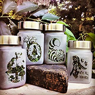 Twisted420Glass Alice in Wonderland Herb & Spice Jars Etched Kitchen Glass Gift Set