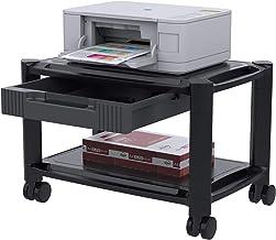 Soporte de Impresora - Carro Impresora Debajo de la Mesa con 4 Ruedas Giratorias y Cajón de Almacenamiento, Estante Duradero de Impresora para Fax, Escáner, Suministros de Oficina de hasta 17kg